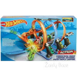 Automobilių trasa Hot Wheels Corkscrew Crash Track Set