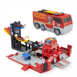 Fast Lane Folding Fire Truck Playset Gaisrinė
